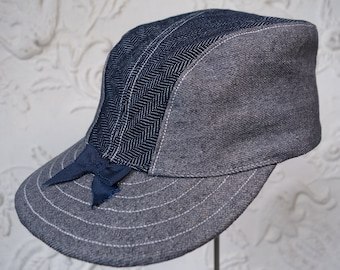 "The YUKON 1920s-pattern Canadian Outdoorsman's Cap in Indigo Herringbone and Grey Denims - Size 7 1/4"" (58+)"