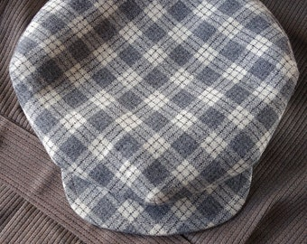The FIVE POINTS - 1910s-Pattern Flat Cap in c.1930s French Check Wool and Vintage Chambray Liner- Made to Order