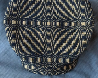 The BOWERY OVERSHOT - 1920s-Pattern Flat Cap in c.1850s Overshot Linen & Wool Homespun Cloth - Made to Order