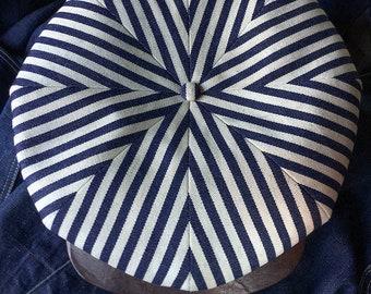 The GILES - 1920s Style 8/4 Newsboy Cap in Indigo Stripe Denim and Horsehide Visor - Made to Order
