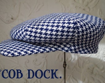 The COB DOCK - 1920s-Pattern One-Piece Flat Cap in Vintage Houndstooth Wool  - Made to Order