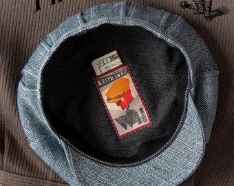 "The BOSS TWEED - 1910s Style Fancy 4/4 Flat Cap with Invert-Pleat Back in Vintage Herringbone Wool/Silk - Size 7 1/4"" (58+)"