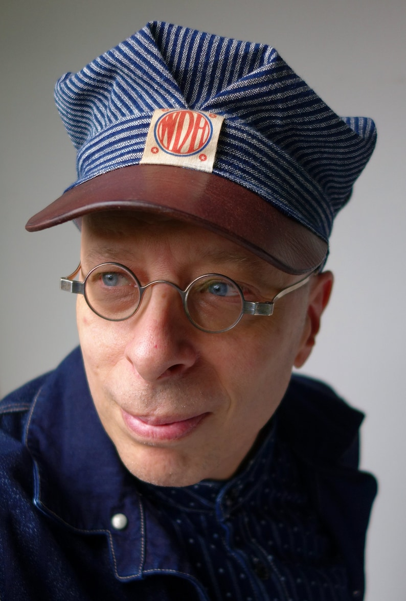 1920s Men's Workwear, Casual Clothes The SWITCHMAN 1910s-pattern Train / Engineers Cap in Antique Bulgarian Homespun Indigo Cotton & Horsehide Visor - Made to Order $179.00 AT vintagedancer.com