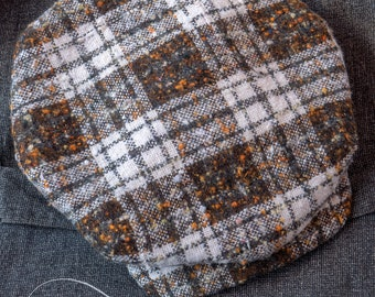 """The ZEPHYR - 1920s-Pattern French Casquette Flat Cap in Vintage Autumnal Check Wool - Size 7 1/4"""" (58+)"""