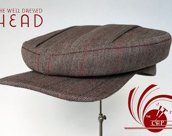"""The """"IT"""" Cap - 1910s / 1920's Style Flat Cap With Box Pleated Top in 1940s Sydney-Made Suiting Wool - Made to Order"""