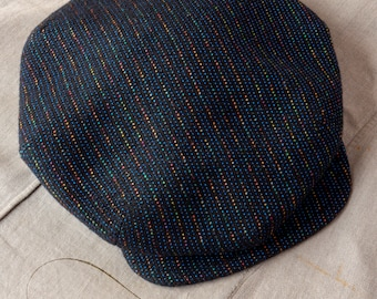 """The ZEPHYR - 1920s-Pattern French Casquette Flat Cap in Vintage Couture Italian Merino Wool (Blue Hue) - Size 7 1/4"""" (58+)"""