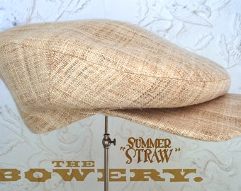 """The BOWERY 'Summer Straw' - 1920's-Pattern Flat Cap in Handwoven Hemp Straw & Cotton Liner - Size 7 5/8"""" (61)"""