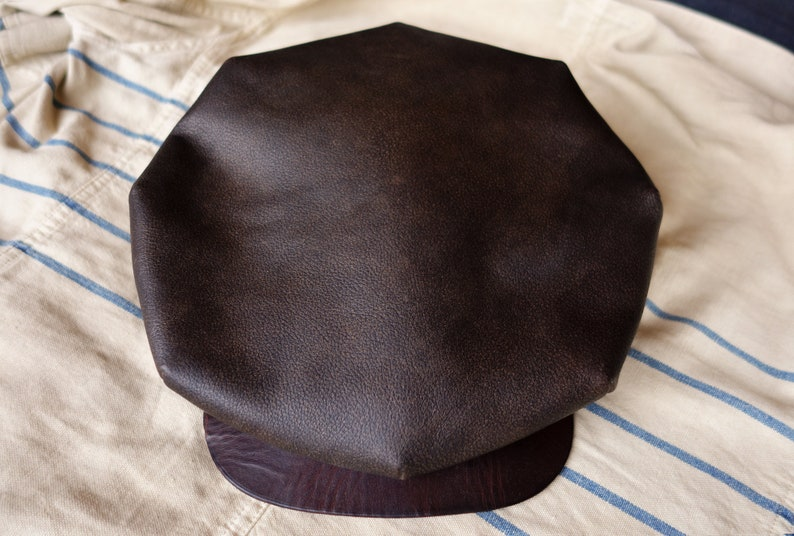 The LE MANS Buffalo  1920s Style Flat Cap in Buffalo Leather image 0
