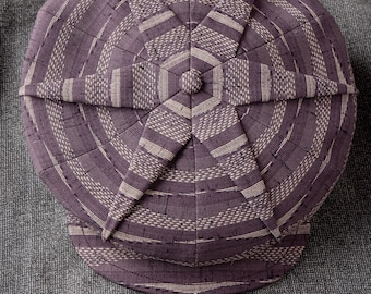 L'Étoile (The Star) - Novelty 1922 Pleated Fancy 6/3 Cap in Vintage Japanese Kimono Wool - Made to Order