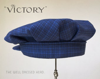 THE VICTORY - 1920s-Pattern Flat Cap with Six Box Pleats and Back Band in Vintage Indigo French Workwear Cotton Moleskin - Made to Order