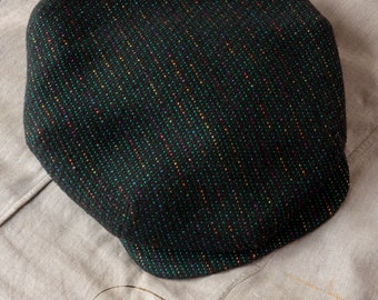 """The ZEPHYR - 1920s-Pattern French Casquette Flat Cap in Vintage Couture Italian Merino Wool (Green Hue) - Size 7 1/4"""" (58+)"""
