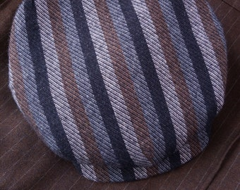 """The COB DOCK - 1920s-Pattern One-Piece Flat Cap in Vintage Striped Wool  - Size 7 1/4"""" (58+)"""