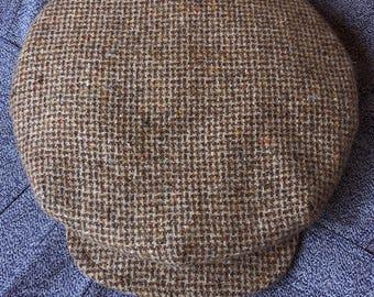 "THE BROADWAY - 1910s-Inspired 11.5"" Diameter Flat Cap in Vintage Rustic Tweed - Made to Order"