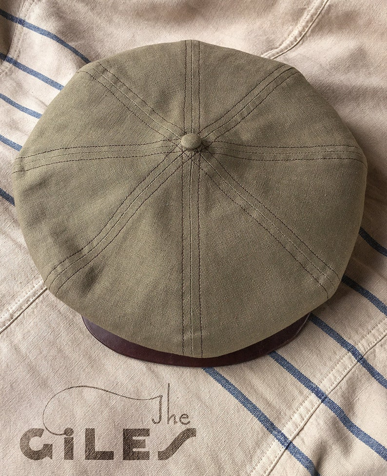 THE GILES 1920s Style 8 4 Newsboy Cap in Vintage Linen and  3e702055204