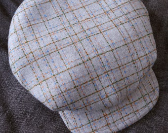 The FIVE POINTS - 1910s-Pattern Flat Cap in Vintage Windowpane Tweed and Vintage Kimono Liner- Made to Order