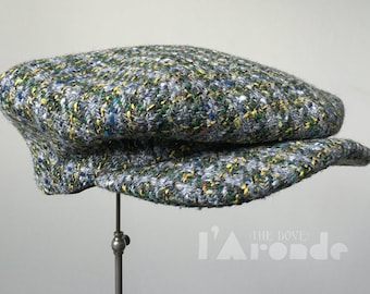 L'ARONDE (The Dove) - 1920s-Pattern French Style Casquette Flat Cap in Vintage Multi-Toned Wool Tweed - Made to Order