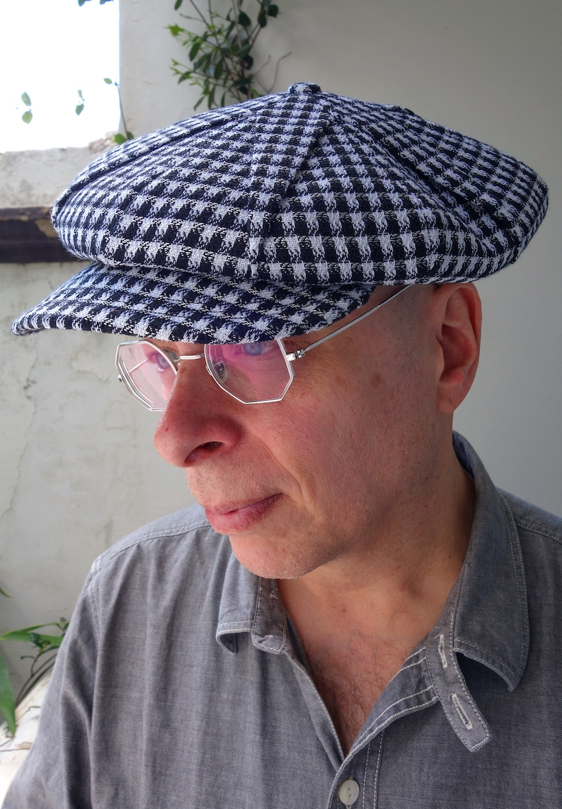 1920s Men's Hats – 8 Popular Styles LÉtoile (The Star) - Novelty 1922 Pleated Fancy 6/3 Cap in Vintage Cotton/Silk Check - Size 7 1/4