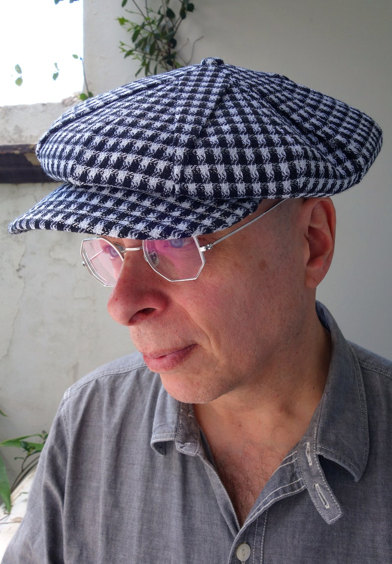 New Edwardian Style Men's Hats 1900-1920 LÉtoile (The Star) - Novelty 1922 Pleated Fancy 6/3 Cap in Vintage Cotton/Silk Check - Size 7 1/4