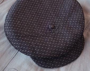 The METROPOLITAN - Bespoke 1910s-Pattern Novelty Flat Cap in Lightweight Dot Denim - Made to Order