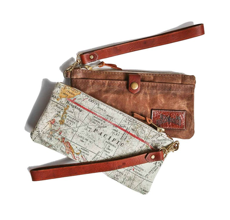 Nyc Subway Map Zippered Wallet.Expedition Wristlet Phone Wallet Waxed Canvas Bag Zipper Pouch Zip Map Print Purse Travel Print Clutch