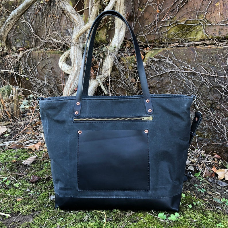 Waxed Canvas /& Leather Everyday Bag Charcoal Weekender by Two Belmont Sisters