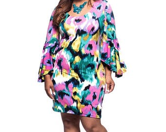44d9b2edb7a5 Women's Plus Size Hawaiian Multi Color Bell Sleeve Dress