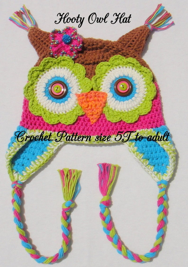00a76fdc8b4 Hooty Owl Hat Crochet Pattern size 5T to adult