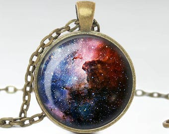 Carina Nebula Necklace, Space Constellation Pendant, Space Galaxy Jewelry [A32]