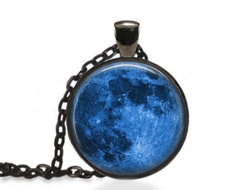 Blue Moon Necklace, Moon Galaxy Jewelry, Blue Moon Pendant [A26]