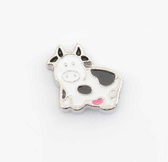 Cow floating memory locket charm