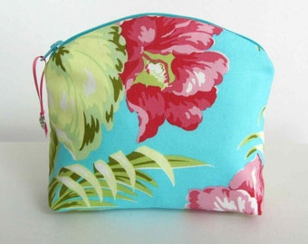 Amy Butler fabric purse, Makeup Bag turquoise with Pink flowers , Amy Butler fabric Pouch,  Clutch purse, Travel bag, Cosmetic bag