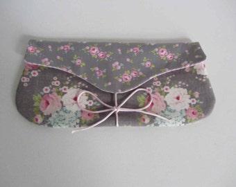 Tilda grey and roses purse, Makeup Bag, Fabric Pouch, Clutch purse, Tilda Cosmetic bag