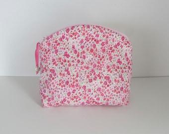 Liberty of London Tana Lawn pink fabric purse, Makeup Bag, Fabric Pouch, Pink Zipper, Clutch purse, Travel bag, Cosmetic bag