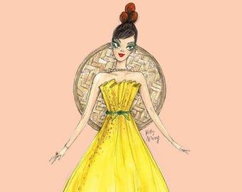 Miss Siu Mai Fashion Illustration A3 A4 Art Print