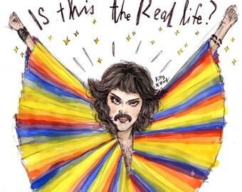 Freddie Mercury Movember - Watercolour Digital A4 Art Print