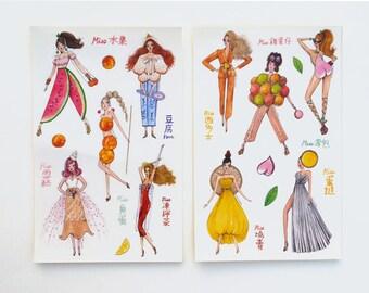 """Miss Hong Kong Foods Illustration - 15 PCs Gloss Sticker Sheet Pack -  5"""" x 8"""""""
