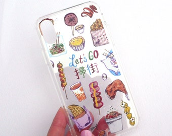 Hong Kong Street Food - Illustrated Clear iPhone Case
