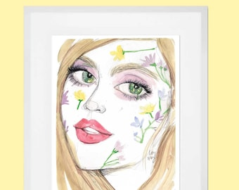 Flower Face - Fashion Illustration - SIgned Wall Art Print from Artist Kitty N. Wong