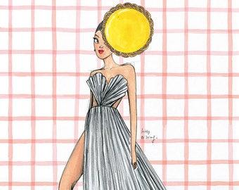 Miss Egg Tart Fashion Illustration A3 A4 Art Print