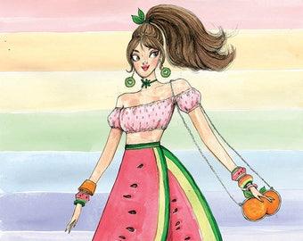 Miss Fruity Fashion Illustration - A3 / A4 Art Print