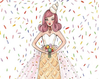 Miss Ice Cream Fashion Illustration - A3 / A4 Art Print