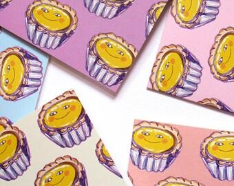 Smiley Egg Tart Face Pattern - Pastel Greeting Note Card Set