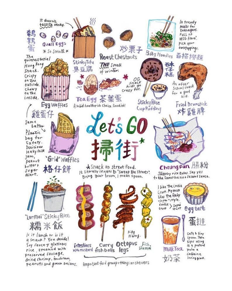 Hong Kong Street Food Illustration A3 A4 Art Print image 0