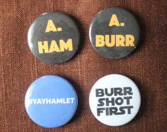 Hamilton Button or Magnet Pack - 4 Pinback Buttons (3rd edition)