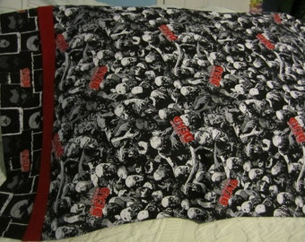 Zombie Crowd/Walking Dead/Red trim/Zombie Heads/PILLOWCASE