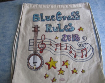 Bluegrass Rules/Hand Painted/Drawstring Backpack
