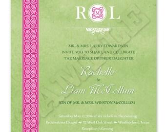 Printable Celtic Wedding Invitation - Square