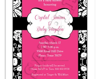 Printable Pink Damask Baby Shower Invitation