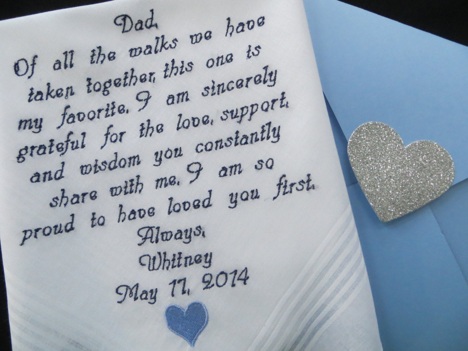& Wedding handkerchief for Dad. Embroidered Wedding Gift. You | Etsy