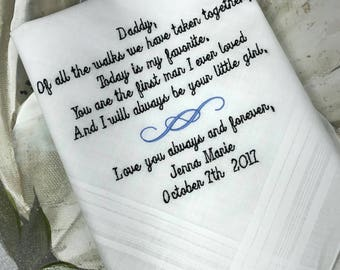 Dad Wedding Handkerchief | Father of the Bride Wedding Handkerchief | Personalized Wedding Handkerchief | Gift for Dad | embroidered hankies